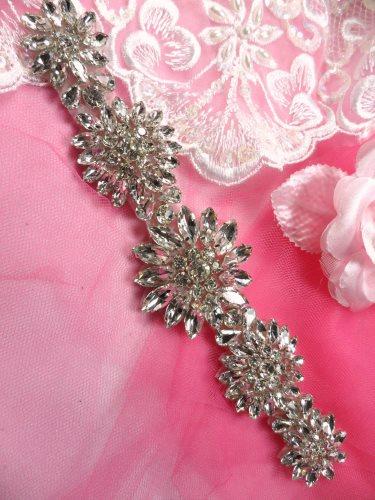 JB176 Crystal Rhinestone Applique Silver Floral 8\