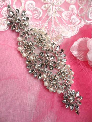 JB180 Crystal Rhinestone Applique Silver Beaded w/ Pearls 7\