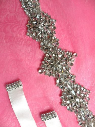 JB232 Bridal Sash Silver Crystal Clear Glass Rhinestone Ivory Ribbon  13.75\