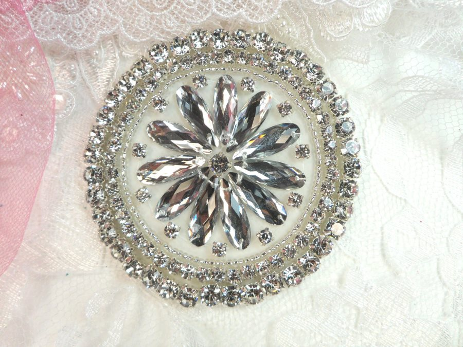 Rhinestone Applique Silver Beads Round Floral Center Bridal Motif 3.25 (JB267)