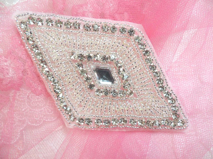 Diamond Rhinestone Applique Silver Beaded  4.25 (JB268)