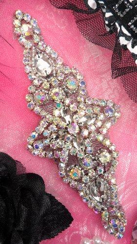 JB47 Black Backing Aurora Borealis Crystal AB Rhinestone Silver Beaded Applique Iron-On 6\