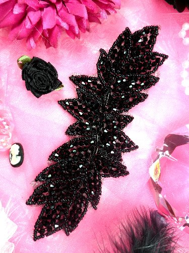 JB77 Black Leaf Designer Glass Beaded Applique 8\
