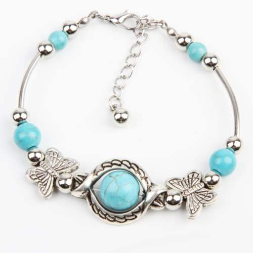 JW10 Turquoise Bracelet Butterfly Pendant Silver Metal Fashion Jewelry