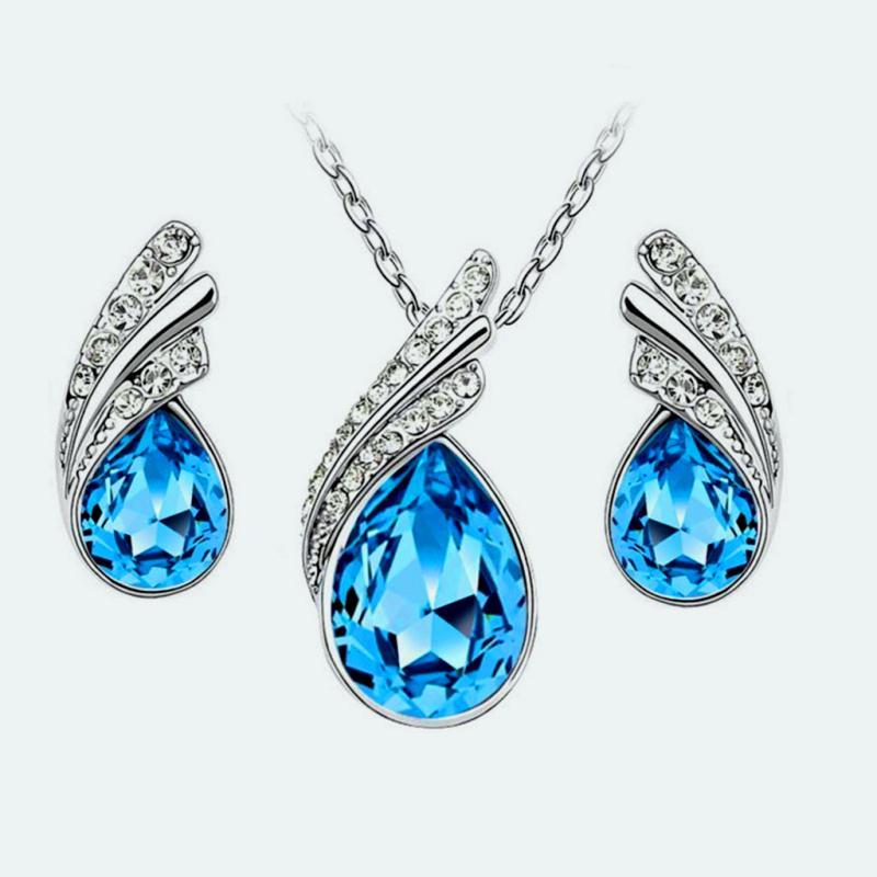 Necklace Earring Set Silver Crystal Rhinestone Turquoise Tear Drop Jewelry Gift Set  (JW11-tr)