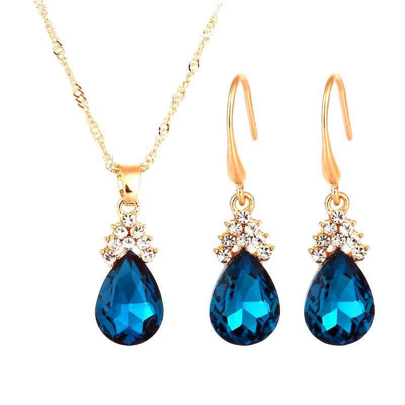 Teardrop Jewelry Set Necklace Earring Turquoise Crystal Rhinestone Goldtone (JW15)