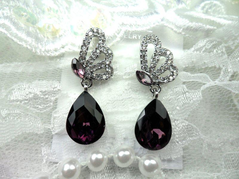 Earrings Silver Crystal Rhinestone Plum Tear Drop Dangle Jewelry  (JW16)