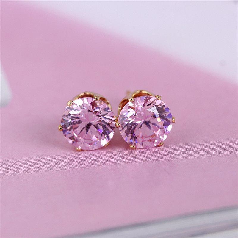 Rhinestone Earrings Light Pink Ice Diamond Gold Setting Round Stud Jewelry (JW20)