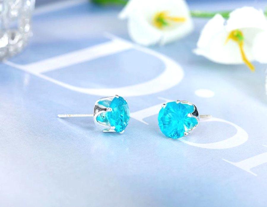 Rhinestone Earrings Light Turquoise Diamond Silver Setting Round Stud Jewelry (JW20)