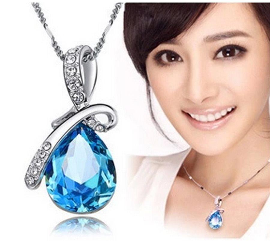 Silver Turquoise Austria Crystal Rhinestone Necklace Water Teardrop Jewelry (JW25)
