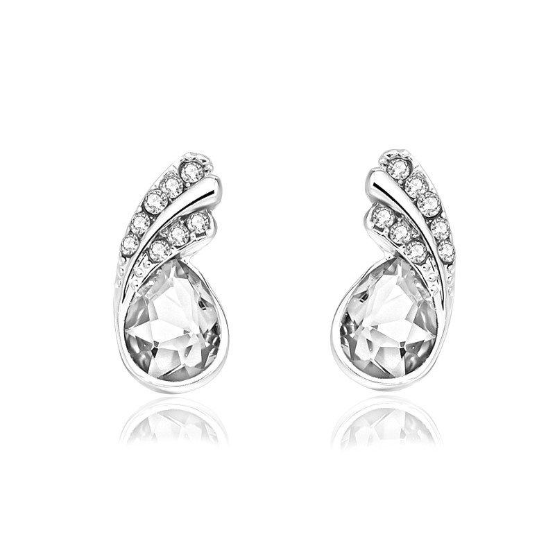 Silver Austria Crystal Rhinestone Earrings Water Teardrop Jewelry (JW26)