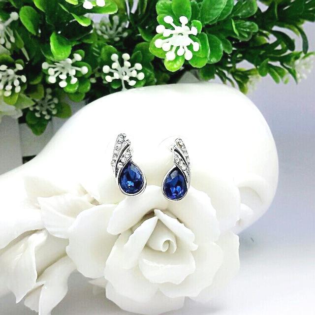 Silver Navy Blue Austria Crystal Rhinestone Earrings Water Teardrop Jewelry (JW26)