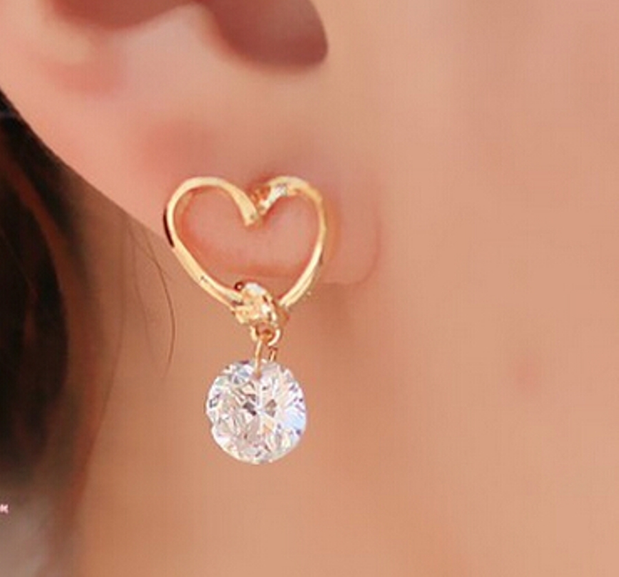 Rhinestone Dangle Heart Earrings in Gold Setting Jewelry (JW27)