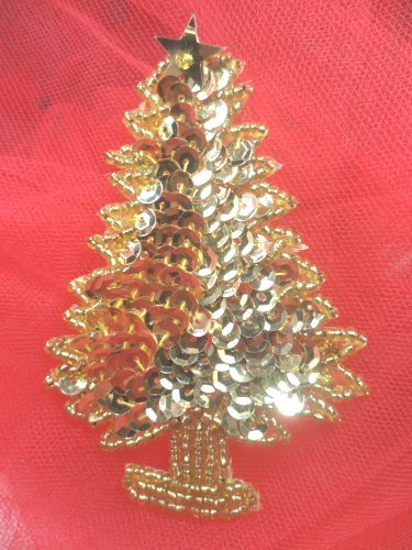 """LC1586 Gold Christmas Tree  Applique Beaded Sequin Patch 2.75"""""""