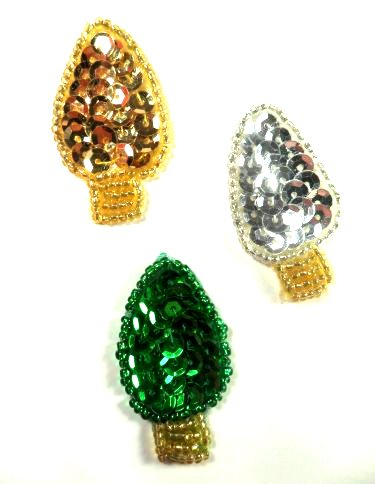 """LC1596 Christmas Bulbs Lights 3pc Appliques Beaded Sequin Patch 1.5"""""""