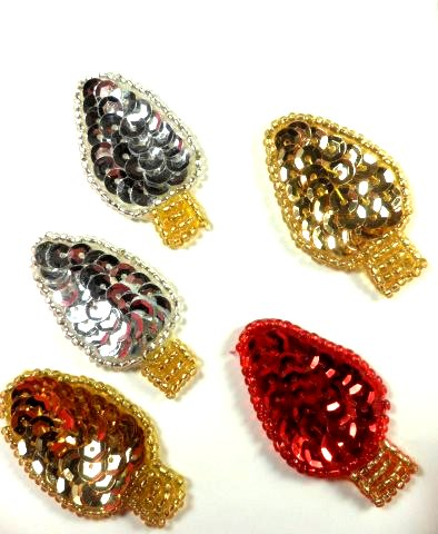 """LC1598 Christmas Lights Bulbs 5 pc  Appliques Beaded Sequin Patch 1.5"""""""