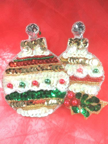 """LC1601 Christmas Ornament Applique Beaded Sequin Patch 4"""""""
