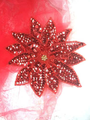"""LC1645 Christmas Poinsettia Flower  Applique Beaded Sequin Patch 5"""""""