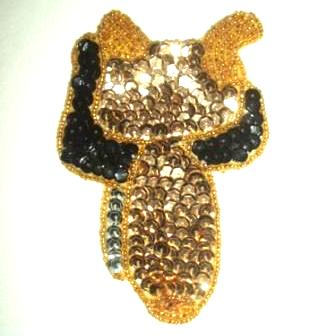 LC378  Gold Saddle Sequin Beaded Applique