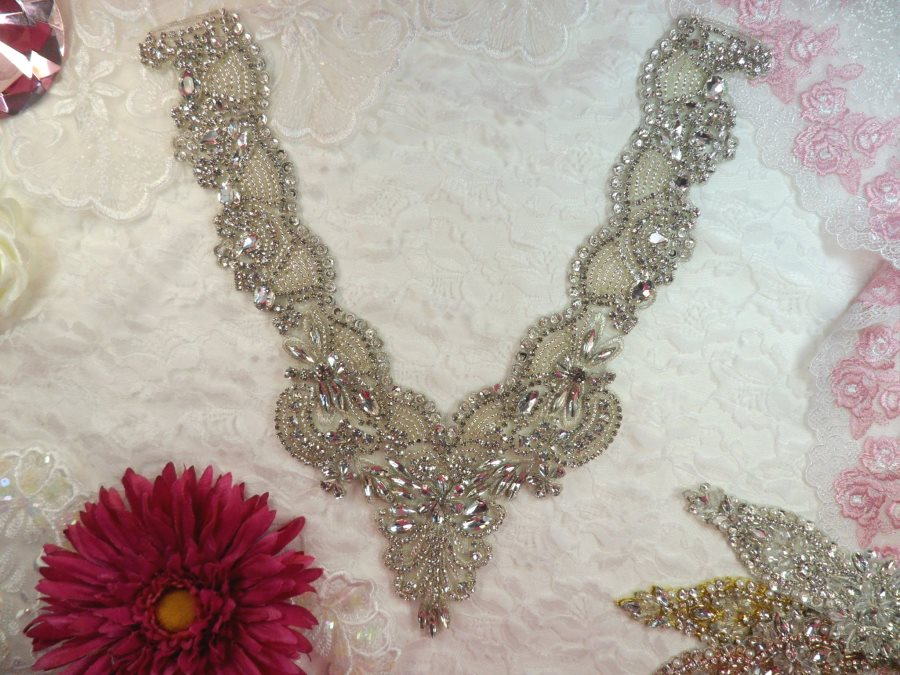 Yoke Applique in Silver Setting and Beads w/ Multiple Crystal Rhinestones (MS131)