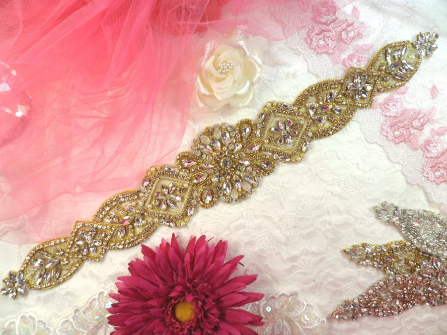 Bridal Sash Applique w/ Gold Setting and Beads Multiple Crystal Rhinestones w/ Pearls 18 (MS136)