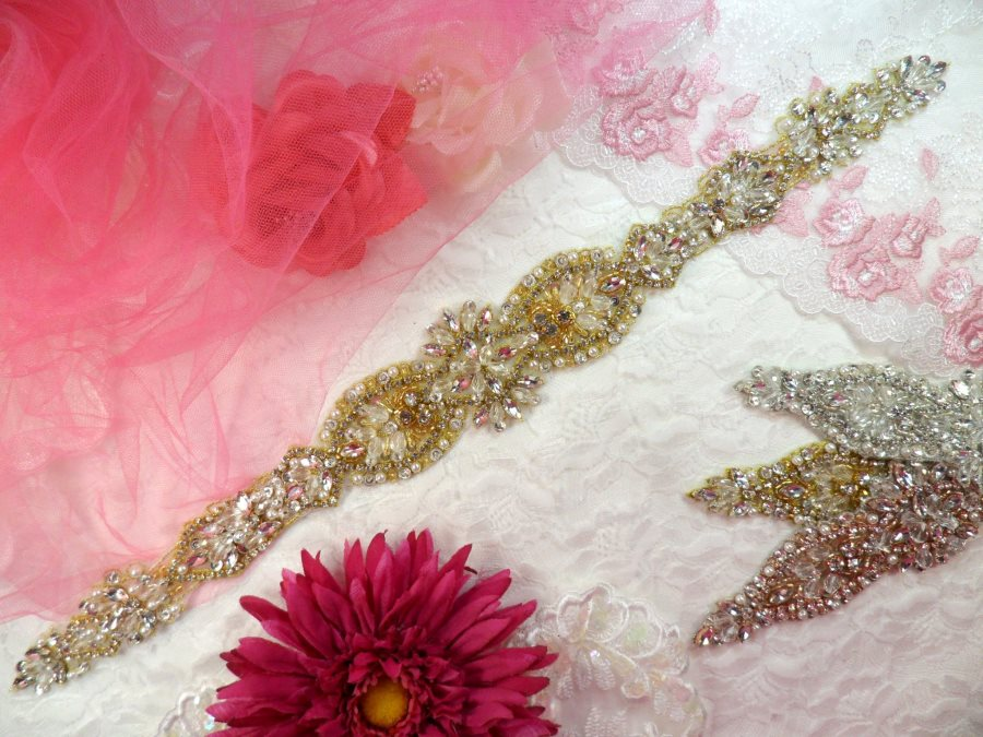 Bridal Sash Applique w/ Gold Setting and Beads Multiple Crystal Rhinestones w/ Pearls 16.5 (MS139)
