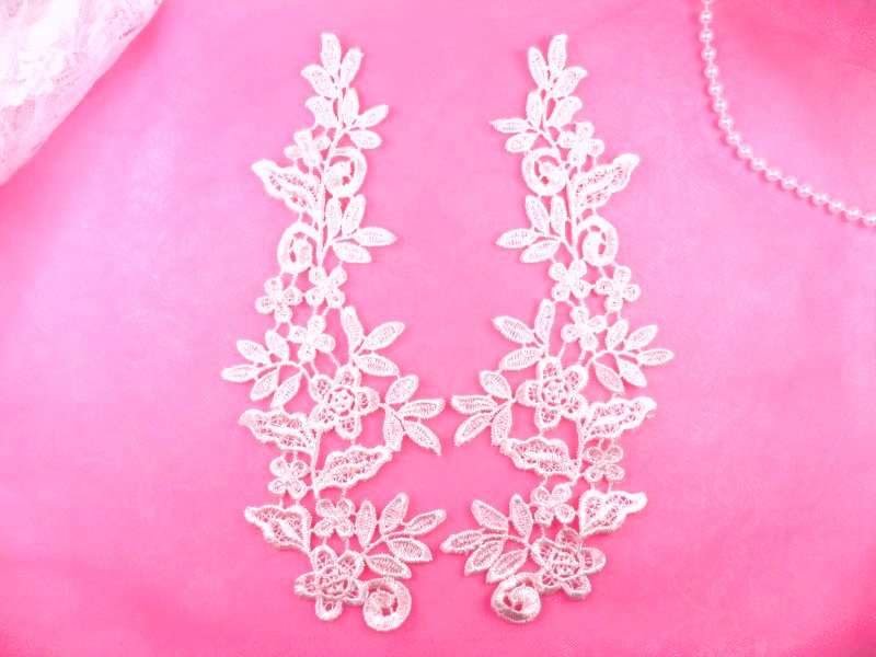 REDUCED Embroidered Appliques Floral Venise Lace Mirror Pair Pink 9.5 (RMGB360X)