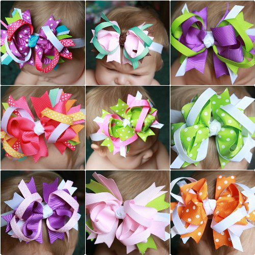 GB16 Stacked Grosgrain Ribbon Boutique Bow