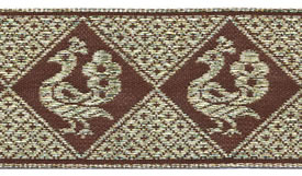 C608285  Coffee Peacock Jacquard Ribbon Trim 1.5""