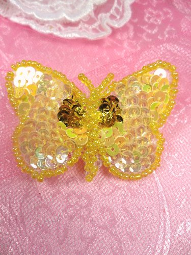 SA101 Butterfly Applique Sequin Beaded Yellow 2.25\