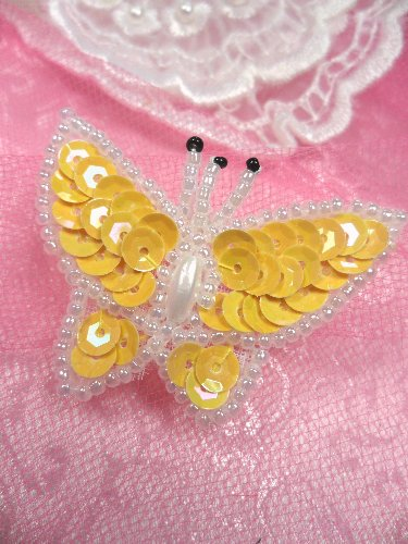 SA102 Butterfly Applique Sequin Beaded Yellow 1.75\