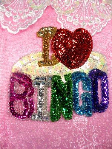 SA20 Reduced I Love Bingo Applique Beaded Sequin 5\