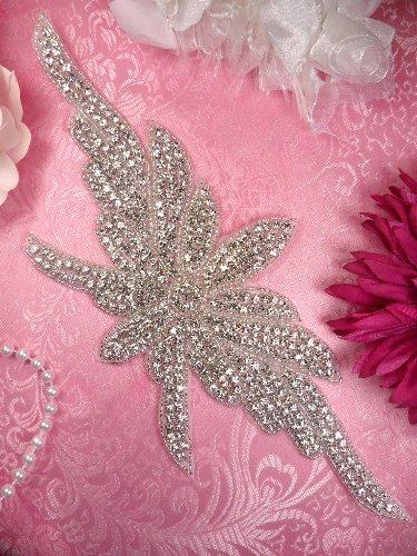 "JB155 Floral Hot Fix Silver Beaded Crystal Rhinestone Applique 11"""