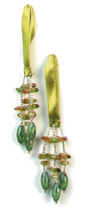 E5572 Set of 2 Green Beaded Tassels 2""