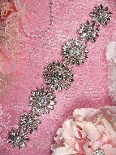 TS153 Floral Silver Crystal Rhinestone Bridal Sash Embellishment 11