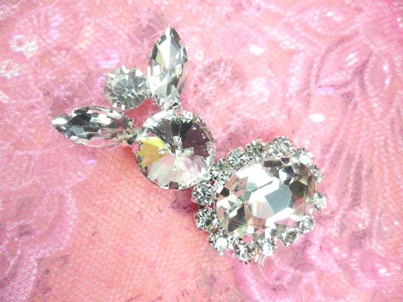 Petite Crystal Clear Rhinestone Embellishment Designer Metal Back 2 (STS227-slcr)