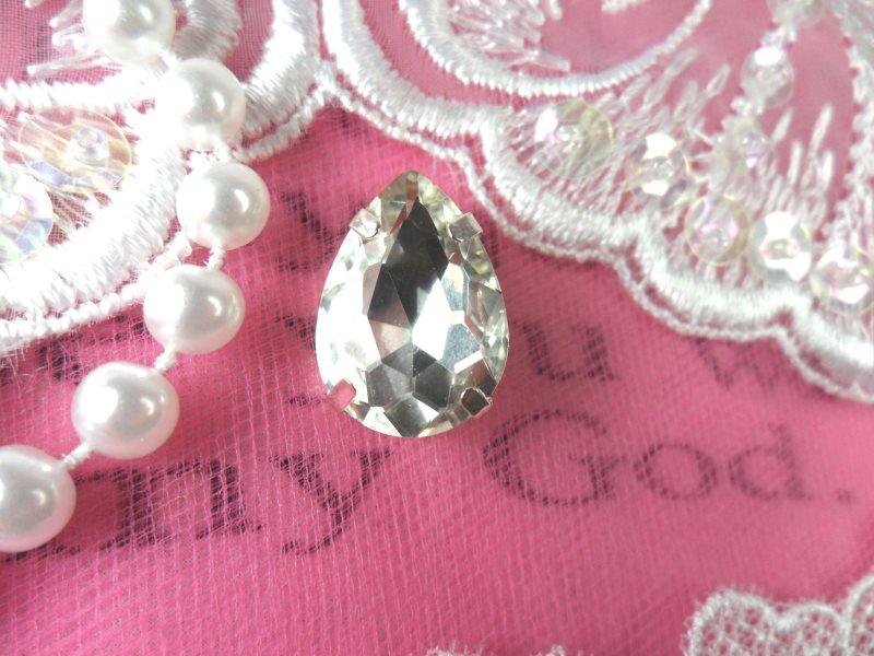 Tear Drop Petite Crystal Clear Rhinestone Embellishment Designer Silver Metal Back .75 (STS232-slcr)