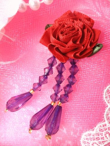 VD1  Red Hat Purple Red Dangle Beaded Applique 3\