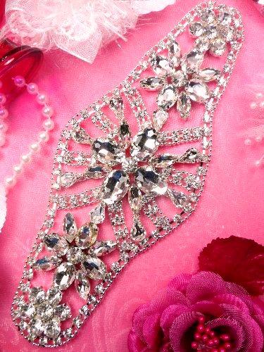 TS136 Silver Crystal Rhinestone Applique Embellishment  8