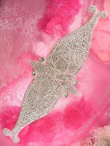 TS160 Bridal Sash Silver Beaded Crystal Clear Glass Rhinestone Applique 13.75