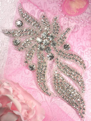 TS62 Tabitha  Silver Beaded Crystal Rhinestone Applique 8""