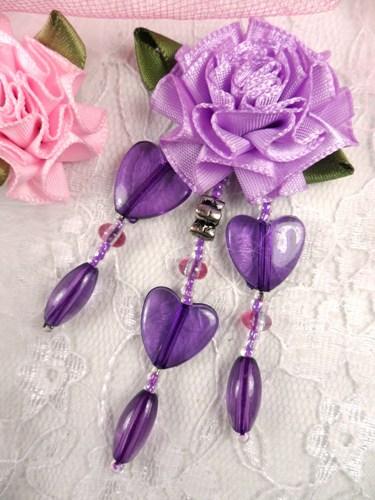 VD32  Lavender Purple Heart Floral Dangle Beaded Applique