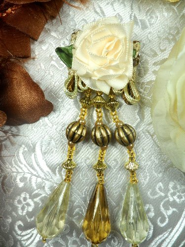 VD36 Victorian Applique Ivory Floral Dangles Antique Gold Beads 4""