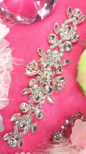 XR163  Silver Crystal Rhinestone Applique Embellishment 8\