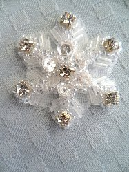 XR284 Crystal Sequin Applique Crystal Rhinestone Snowflake 1.5""