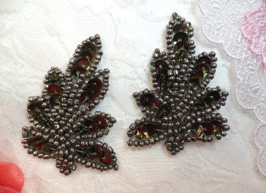 Leaf Appliques Sequin Smoke Mirror Pair Beaded Motif 2 (XR293X)