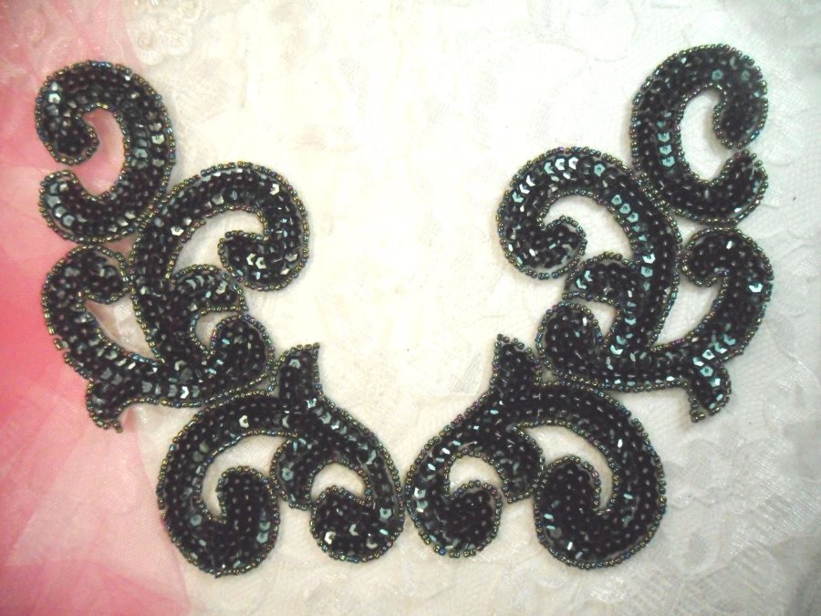 Sequin Appliques Evergreen Scroll Designer Beaded Iron On Hot Fix Mirror Pair 7 (XR357X)