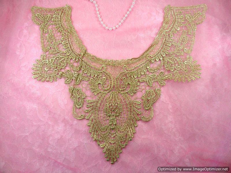 Bodice Applique Embroidered Yoke Collar Neckline Lace Motif Antique Gold Metallic 13.5 (Y3)