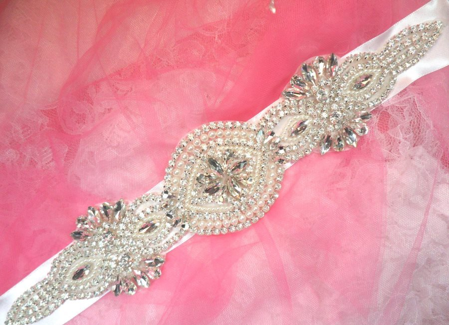 Bridal Sash Crystal Rhinestone Silver Setting w/ Pearls On White Satin Double Face Ribbon (BSZ12)