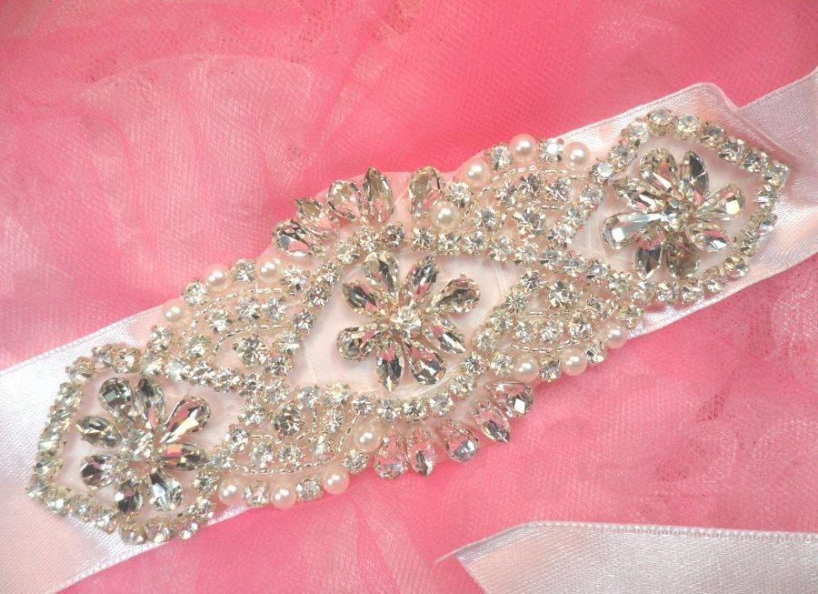 Bridal Sash Crystal Rhinestone Silver Setting w/ Pearls On White Satin Double Face Ribbon (BSZ8)